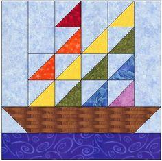 Barn quilt patterns - Sail Away Quilt Block Pattern – Barn quilt patterns Colchas Quilting, Quilting Projects, Quilting Designs, Quilting Ideas, Barn Quilt Patterns, Pattern Blocks, Nautical Quilt, Painted Barn Quilts, Boy Quilts