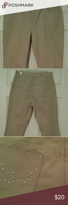 Pair of Chico ' pants 15 short Juniors tan pants short Has embroidered pattern and rhinestones on back pockets Chico's Pants Boot Cut & Flare