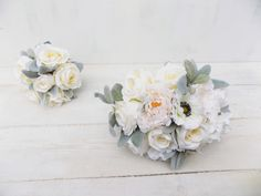 Hand tied bridal bouquet out of artificial, silk garden flowers - peony, rose and anemone in ivory and cream with lamb's ear foliage. Groom Buttonholes, Rustic Bridal Bouquets, Flower Girl Bouquet, Wrist Corsage, Bridesmaid Bouquet, Handmade Wedding, Flower Crown, Summer Wedding, Peonies