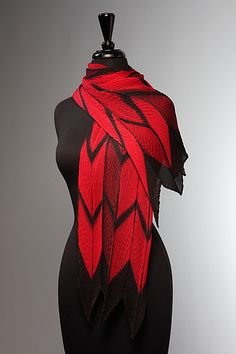 Pleated Red and Black Arrow Scarf: Laura Hunter: Silk Scarf | Artful Home