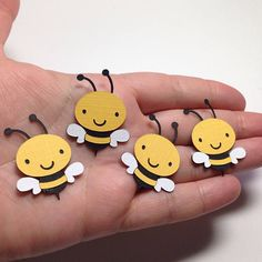 MINI Bee Die Cuts ~ Paper Bee Cut Outs, Mom to BEE Baby Shower, Mama to BEE Baby Shower, Spring Baby Shower Decorations, Wish Tree Tags Bee Crafts, Diy And Crafts, Crafts For Kids, Paper Crafts, Die Cut Paper, Diy Banner, Montessori Activities, Bee Theme, School Decorations