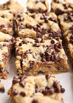Crock Pot Peanut Butter Chocolate Chip Blondies • Table for Seven