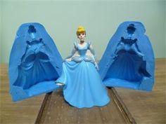 SMALL CINDERELLA 3D TWO PIECE SILICONE MOULD  : approx. 10cm x 4cm Pourable silicone £49.99 Blue silicone £29.99