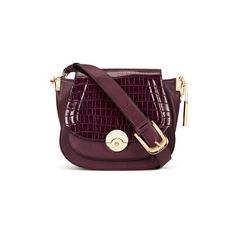 Dune Delphine Cross Body Bag - Berry Croc ($90) ❤ liked on Polyvore featuring bags, handbags, shoulder bags, foldover crossbody, faux-leather handbags, purple purse, saddle bags and vegan handbags