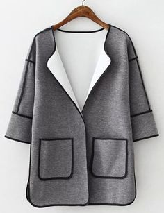 #fashion #accessories Chic Oversize Patch Pocket Longline Trench Coat with Binding Tape   Gray by Moda Tendone - Trenchcoat Clothes, Fashionable, Gray, Trenchcoat, Women