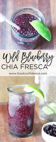 This Wild Blueberry Chia Fresca is perfect for hydrating during the summer. It's refreshing, not too sweet, and packed with protein, fiber, and from the chia seeds and antioxidants from the wild blueberries. Plus it's so easy to make! Clean Eating Vegetarian, Clean Eating Recipes, Vegetarian Recipes, Healthy Eating, Healthy Recipes, Drink Recipes, Smoothie Recipes, Eating Clean, Not Eating