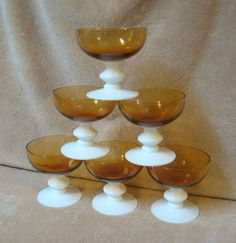 amber milk glass | Amber Milk Glass Sherbet Stemmed Footed Dessert Ice Cream Dishes