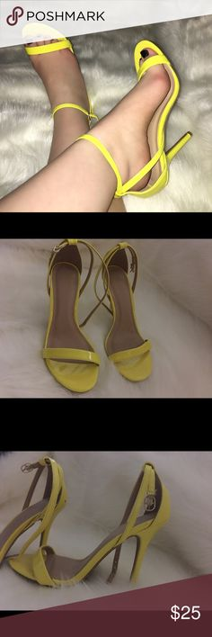 Yellow strappy pumps side 7 worn around house Brand new only worn around house very cute bright yellow color size 7! Wild Diva Shoes Heels
