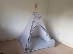 Grey teepee play tent for kids FREE BUNTING/ zigzag tipi / kids wigwam / girls teepee / boys teepee by TeepeeTotsIE on Etsy