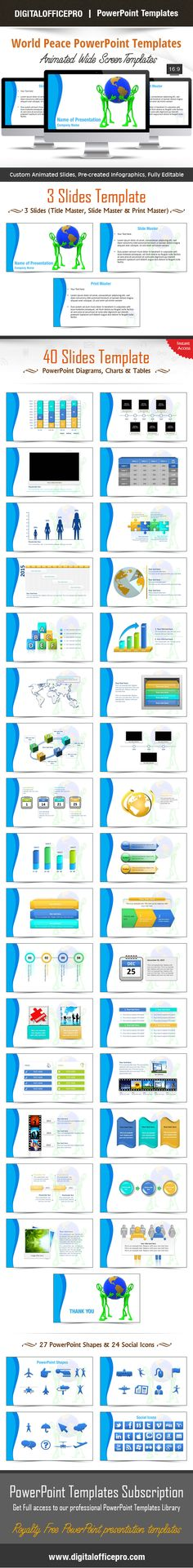 Impress and Engage your audience with World Peace PowerPoint Template and World Peace PowerPoint Backgrounds from DigitalOfficePro. Each template comes with a set of PowerPoint Diagrams, Charts & Shapes and are available for instant download.