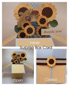 Sunflower Thanks Pop-Up Box Card by inkyfingers61 - Cards and Paper Crafts at Splitcoaststampers