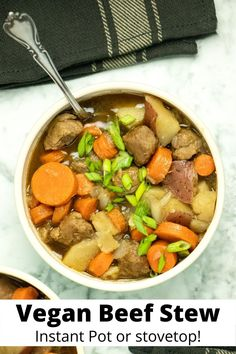 This cozy vegan beef stew with tender carrots and potatoes is super simple to make in the Instant Pot or on the stove. It's a quick, easy, one-pot vegan dinner that you are going to love!    #veganbeefstew #instantpot #onepot #gardein #recipe #easy #video #instapot Vegan Beef, Vegan Foods, Vegetarian, Vegan Breakfast Recipes, Delicious Vegan Recipes, Carrots And Potatoes, Easy Video, One Pot Meals, Vegan Dinners