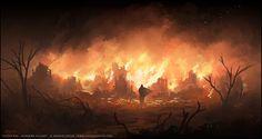 voor het brandende dorp wat ik op de achtergrond wil plaatsen. dat lijkt me erg…