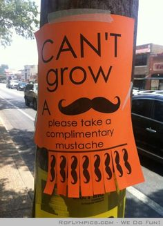 Please help yourself to a complimentary tache