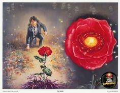 Entonces el corazón de la rosa se abrió para él, dejando al descubierto un fulgor de luz amarilla, y todo pensamiento fue barrido por una oleada de pasmo maravillado.  Era un sol: una vasta forja que ardía en el centro de aquella rosa que crecía entre la hierba morada. Se inclinó más hacia la rosa y vio que su centro no era un sol,sino muchos,tal vez todos los soles,contenidos en un feroz pero frágil envoltorio