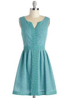 The Gingham's All Here Dress. Round your pals up for a potluck in the park - and sport this picnic-perfect, teal frock! #blue #modcloth