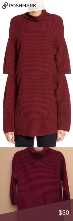 Vince Camuto ribbed funnel neck sweater An easy funnel neck and dropped shoulder seams add to the cozy, relaxed attitude of a thick sweater textured with wide cross-directional ribbing. Love that its cotton, so machine washable! So flattering and comfortable. One of those rare pieces that is oversized but still gives you shape.  I own this in a few colors, and for some reason this color runs a bit bigger than others, so sadly parting with it . It's marked S petite, but I'd say it runs closer…