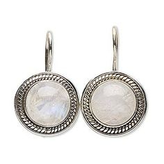 Earring, rainbow moonstone (natural) and sterling silver, 28mm with round and fishhook earwire with safety. Sold per pair. To go with my slide!