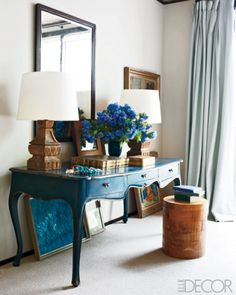 Marvellous table! What a stand out piece. The mirror and French writing table in the master bedroom of Jay and Yvonne Fielden's Connecticut home are family heirlooms.