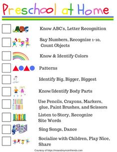 Preschool at Home - Free Printable! Ideas where to start teaching your child preschool at home, or helping reinforce what they are learning at school! preschool Preschool at Home - Free Printable Checklist Preschool Prep, Kindergarten Readiness, Preschool At Home, Preschool Classroom, Preschool Checklist, Preschool Ideas, Preschool Routine, Free Preschool, Sight Words For Preschool