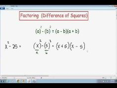 Learn how to factor the difference of perfect squares.
