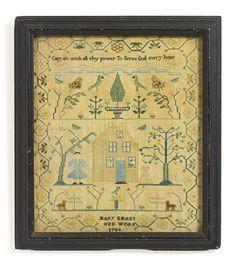 A RARE NEEDLEWORK SAMPLER, MARY EMMES, NEWPORT, RHODE ISLAND, DATED 1764   Lot   Sotheby's