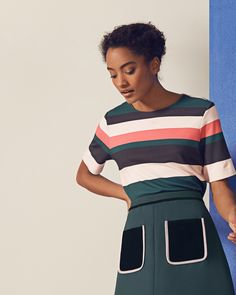 Striped colour-block T-shirt  - Coral | Tops & Tees | Ted Baker