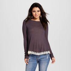Women's Lace-trim Open-back Long Sleeve Knit