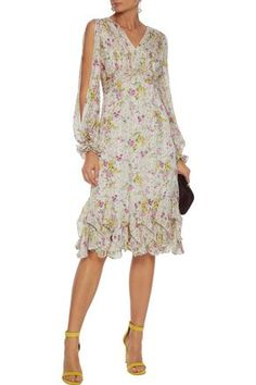 Shop on-sale Cutout pleated floral-print georgette dress. Browse other discount designer Knee Length Dress & more luxury fashion pieces at THE OUTNET Dress Outfits, Fashion Dresses, Stitch Fix Outfits, Mid Length Dresses, One Piece Dress, Luxury Fashion, Fashion Brands, Women's Fashion, Designer Dresses