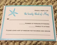 """The RSVP card complete with a spot for guests to write their """"words of wisdom"""" for us!  By far one of the best things I added!"""