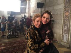 Queen Catherine (Megan Follows) and Mary (Adelaide Kane) behind the scenes on Reign #Reign #CWReign