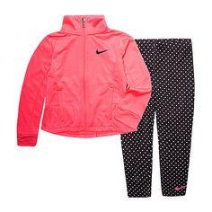 Toddler Nike Outfits, Toddler Nikes, Toddler Sports, Toddler Girl, Baby Girl Nike, Baby Girl Jackets, Polka Dot Leggings, Nike Jacket, Hooded Jacket