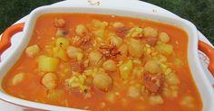 Delicioso plato de cuchara, repleto de vitaminas para el frío, potaje de invierno al azafrán , con Thermomix .