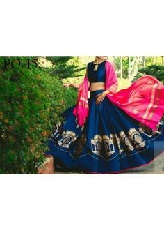 Bollywood Replica - Wedding Wear Blue Silk Lehenga Choli - PO-15
