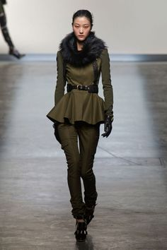 Prabal Gurung FW13 ---> olive military cargo pant & peplum top w/ black fur collar, bullet shoes