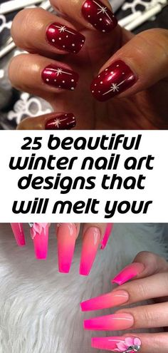 25 beautiful winter nail art designs that will melt your heart 1 - Pink Wedding Nails, Pink Nails, Winter Nail Art, Winter Nails, Coffin Nails, Acrylic Nails, Bridal Nail Art, Nail Blog, Nail Art Designs