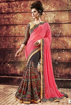Red Georgette Designer Saree With Embroidery Work...@ fashionsbyindia.com #saree