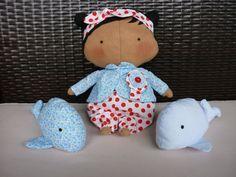 Tilda Sweetheart/ Boneca e Baleias Tilda do livro Tilda's Toy Box / Decoração para quarto de menina em feltro/ Boneca Tilda/ Portugal