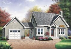Plan #23-233 - Houseplans.com Don't like the separate garage but a cute plan for the amount of square footage