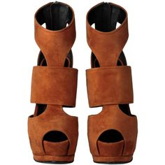 Composition: Leather Measurements: Heel height: 5.7 Inches, Wedge height: 1.6 Inches CA Residents: Proposition 65 Warning Ankle boot-sandals in rust colored su…