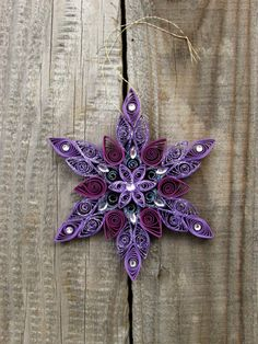 Quilled Purple Shiny Snowflake Ornaments Xmas Tree by YaLingArt,