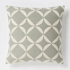 Crewel Lattice Pillow Cover - Platinum | West Elm