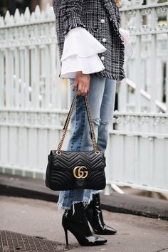 tweed blazer, flare cuff wide sleeve white shirt, raw stepped he jeans, Gucci Marmont bag, black vinyl high shine ankle boots Looks Street Style, Casual Street Style, Fall Winter Outfits, Autumn Winter Fashion, Gucci Fashion, Womens Fashion, Street Fashion, Gucci Marmont Bag, Gucci Handbags