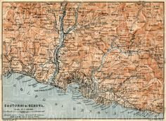 Genoa (Genova) environs map, 1913. Use the zooming tool to explore in higher level of detail. Obtain as a quality print or high resolution image