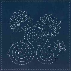 """Early Morning Blooms"" is a sashiko design printed on 100% KONA cotton by www.sashikosouthwest.com"