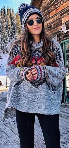 #winter #fashion / Grey Printed Knit + Navy Beanie