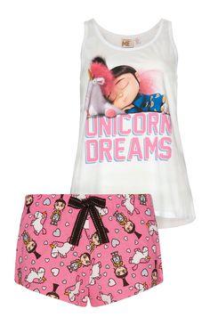 """""""Unicorn"""" Pyjamaset mit Shorts und Top"""