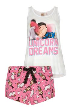"""Unicorn"" Pyjamaset mit Shorts und Top"