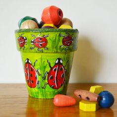 """Larry The Ladybird"" - Useful Pot Painted, Paradis Terrestre - Luxury British Made Accessories & Homeware"