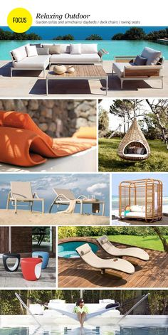 Relaxing Outdoor. It's time for relaxing #outdoor: daybeds, #garden sofas and armchairs, swing seats and deck chairs